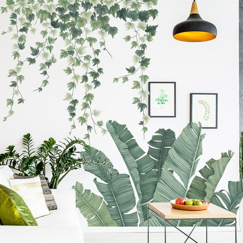 Banana Leaf Vine Wall Stickers for Living room Bedroom Eco-friendly Vinyl Wall Decals Art Home Decor Waterproof Plants Murals
