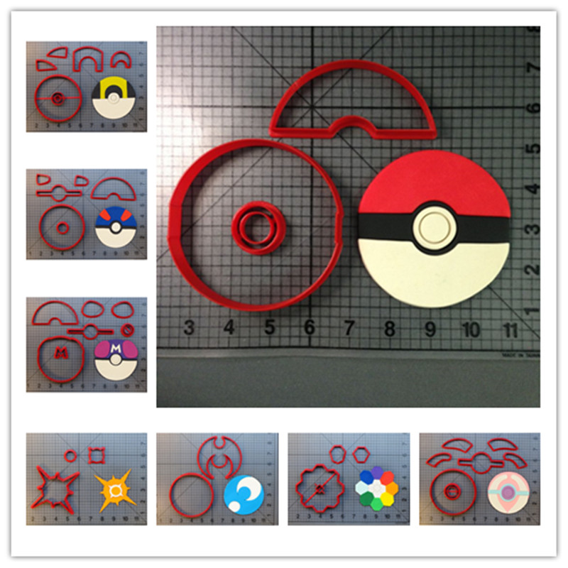 AIR Anime Pokemon Ultraball Greatball Masterball Healball sun moon rainbow 3D printed PLA plastic fondant cookie cutter set image