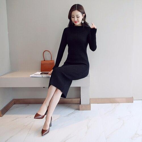 Женское платье-свитер, корейская мода, женские вязаные платья, зимний женский кардиган, облегающее платье, элегантные женские свитера, платья, Vestido платье женское вязаное платье платье женское трикотажное платье - Цвет: Black