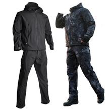 Mężczyźni Airsoft TAD kurtki taktyczne kurtka softshell mundur wojskowy sił specjalnych armii garnitur Militaire odzież męska kurtka + spodnie tanie tanio HAN WILD Poliester CN (pochodzenie) Airpolar 100 Szybkie suche Wodoodporna Wiatroszczelna Termiczne Wiatrówka 300gsm Camping i piesze wycieczki