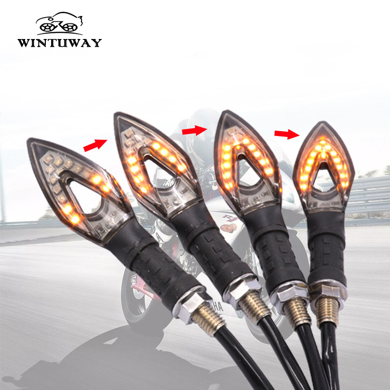 WINTUWAY 14 LED Motorcycle Turn Signal Lights Flowing Water Lamp Diamond Indicating lights Accessories