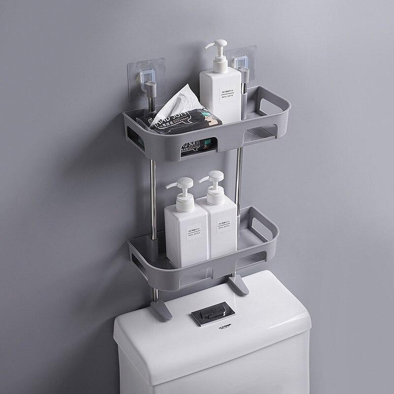 1/2/3 Layer Plastic Bathroom Shelf Adhesive Shower Shelf Soap Holder Kitchen Storage Rack For Bath Toilet Washroom Organizer