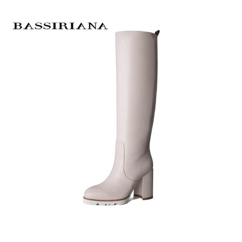 BASSIRIANA 2019 botas de invierno de cuero para mujer botas de tacón alto botas blancas y negras plataforma de goma