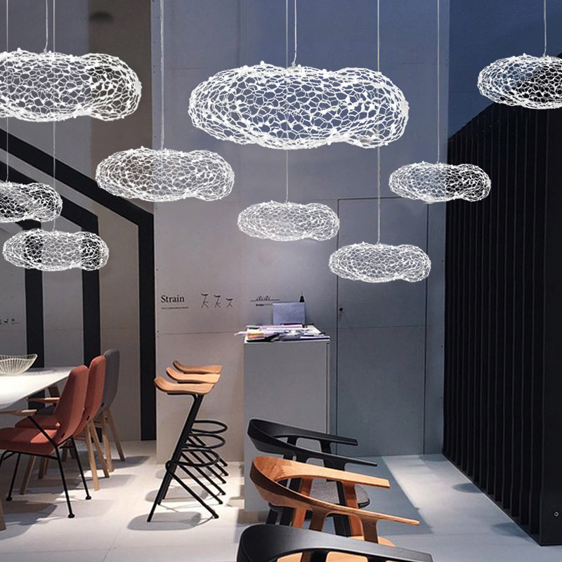 Modern Nordic Starry Decoration Wire Net Mesh Cloud Shape Metal Weaving Iron Hanging Light Droplight For Hotel Shopping Mall