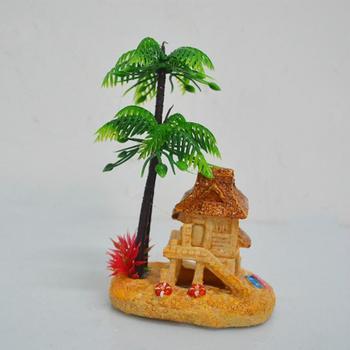 Aquarium resin simulation house resin coconut tree house fish tank landscaping decoration
