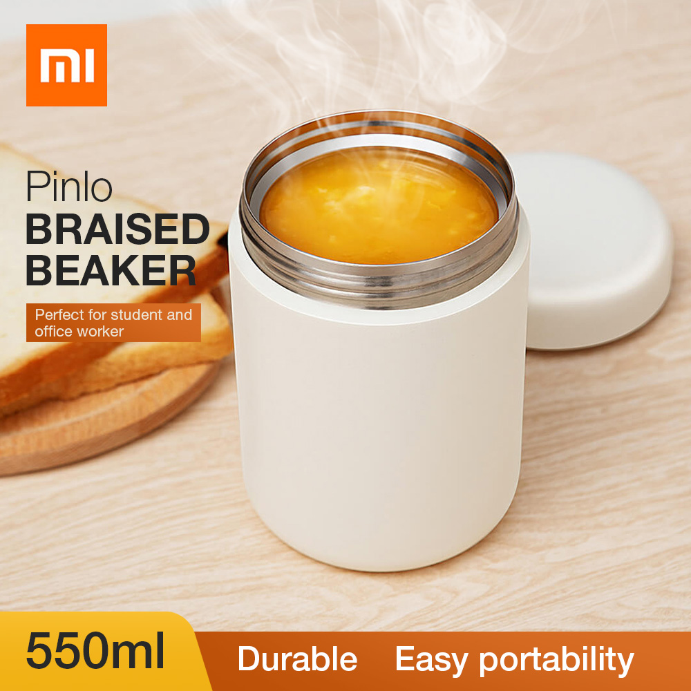 Original Xiaomi Pinlo Vacuum Insulated Stainless Steel Cooking Thermos Braised Beaker 550ml Portable Lightweight Food Thermos