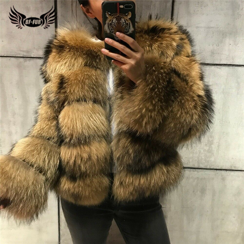2019 Raccoon Fur Women's Jacket Thick Warm Real Fur Coat Luxury Parka Fashion Female Full Pelt Winter Outerwear With Natural Fur