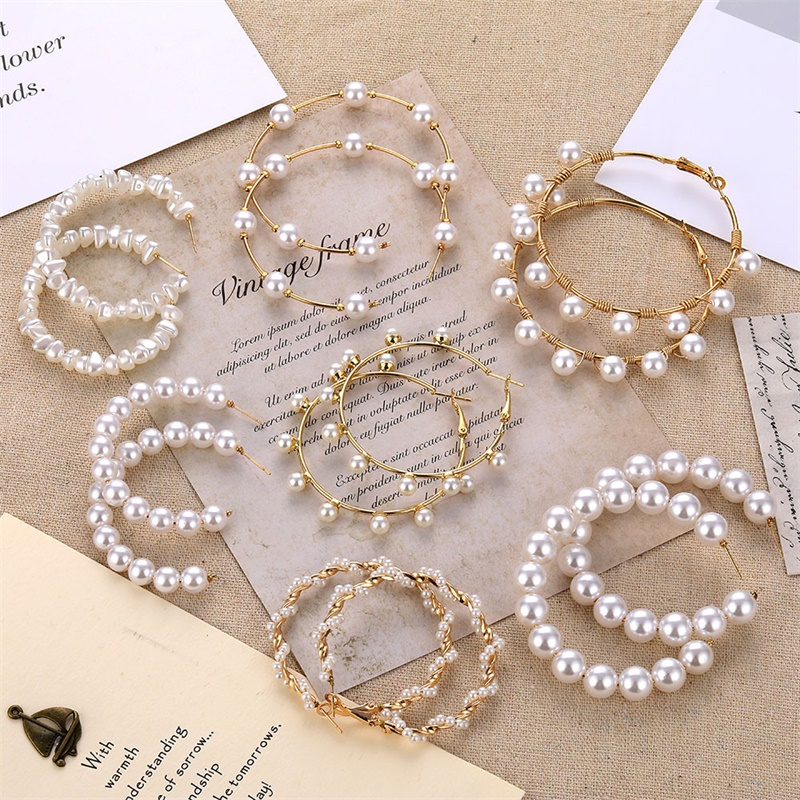FNIO Big Simulated Pearl Earrings 2019 For Women Lover Geometric Gold Round Heart Drop Dangle Earring Korean Statement Jewelry