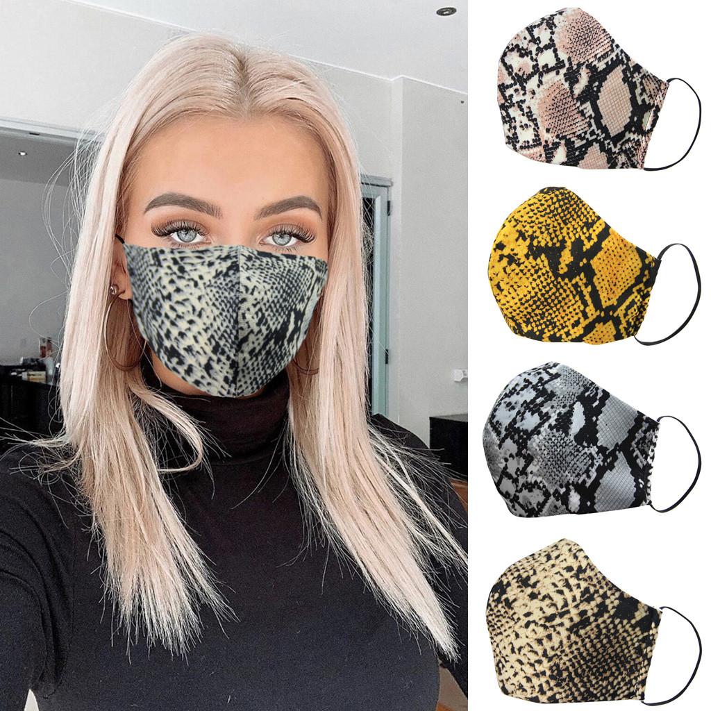 Fashion Snake Skin Print Face Mask For Adult Mouth Mask Washable PM 2.5 Protective Reusable Dust Face Mask Can Insert Filter