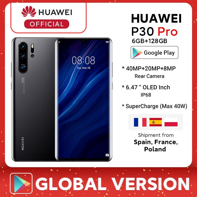 W magazynie wersja globalna Huawei P30 Pro Smartphone 6GB 128GB Kirin 980 6.47 ''ekran OLED 4200mAh SuperCharge (maks. 40W) telefon komórkowy