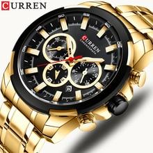 CURREN למעלה מותג יוקרה גברים של שעונים ספורט שעון מזדמן קוורץ שעוני יד עם נירוסטה הכרונוגרף שעון Reloj Hombres