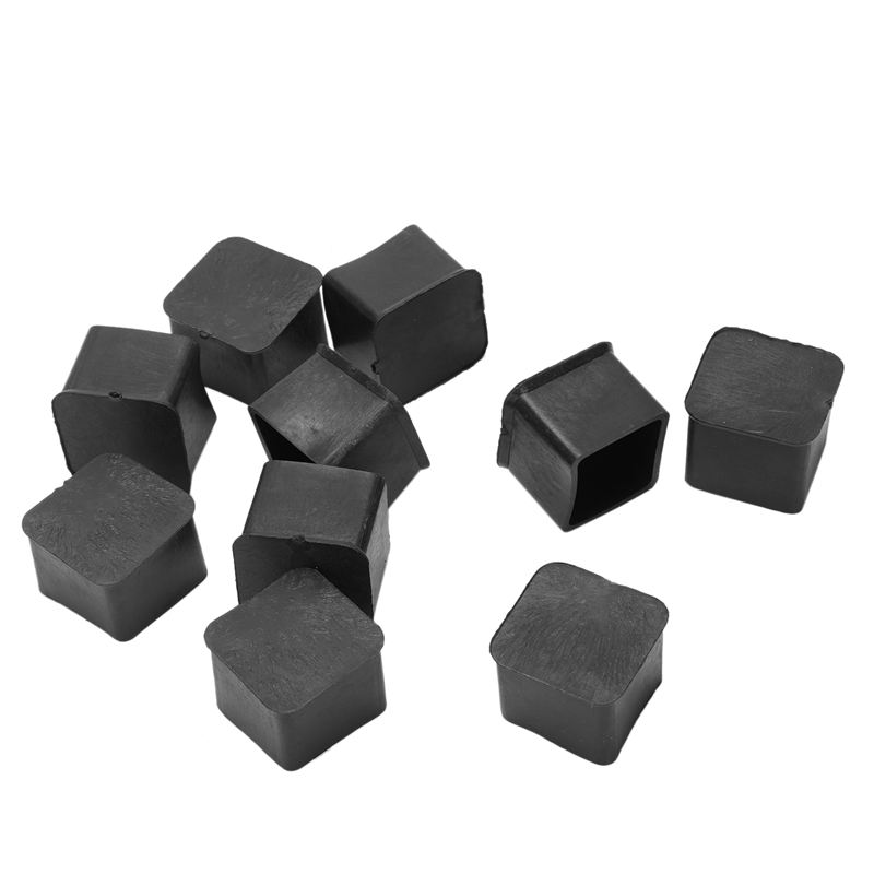 New 10 Pcs 25x25mm Square Rubber Desk Chair Leg Foot Cover Holder Protector Black