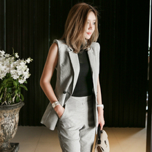 Large Size Autumn Sleeveless Singer Button Blouse with Pocket and Pants Suit Set Women Gray Formal Two Piece