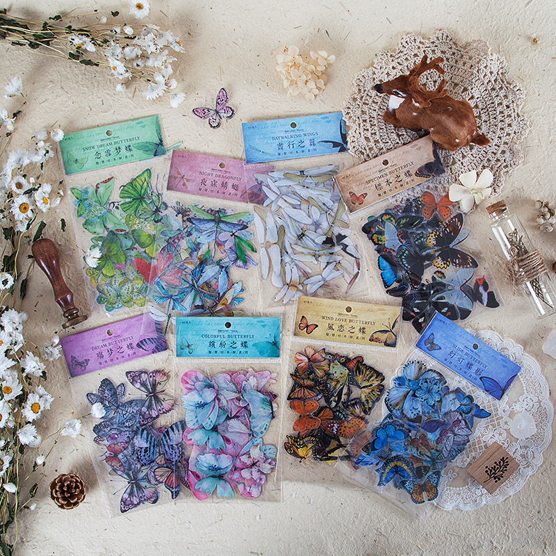 40 Pcs/set Vivid Butterfly Wings PET DIY Stickers Scrapbooking Bullet Journal Diary Stationery Sticker School Office Supplies