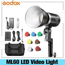 Godox ML60 60W lumière LED Mode silencieux Support de réglage de la luminosité Portable Li-ion avec alimentation ca lumière LED extérieur