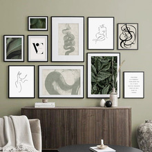 Green Leaves Abstract Line Girl Body Quotes Wall Art Canvas Painting Posters And Prints Wall Pictures For Living Room Home Decor abstract girl figure leaves flower boho wall art canvas painting nordic posters and prints wall pictures for living room decor