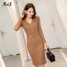 Sweater Dress Winter Women Long Sleeve Slim Casual Autumn Female Blue Knitted Elastic Sexy Bodycon Vestidos
