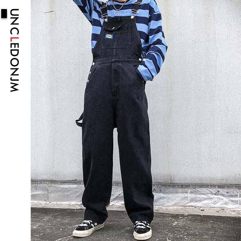UNCLEDONJM Denim Rompers Mens Single Breasted Jumpsuit Cargo Jean Overalls New One Piece Suits Romper Loose Fit Overalls B01-Blk