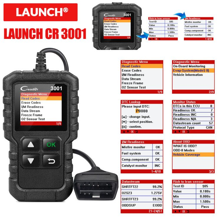 LAUNCH X431 CR3001 Full OBD2 Scanner OBD 2 Engine Code Reader Diagnostic tool