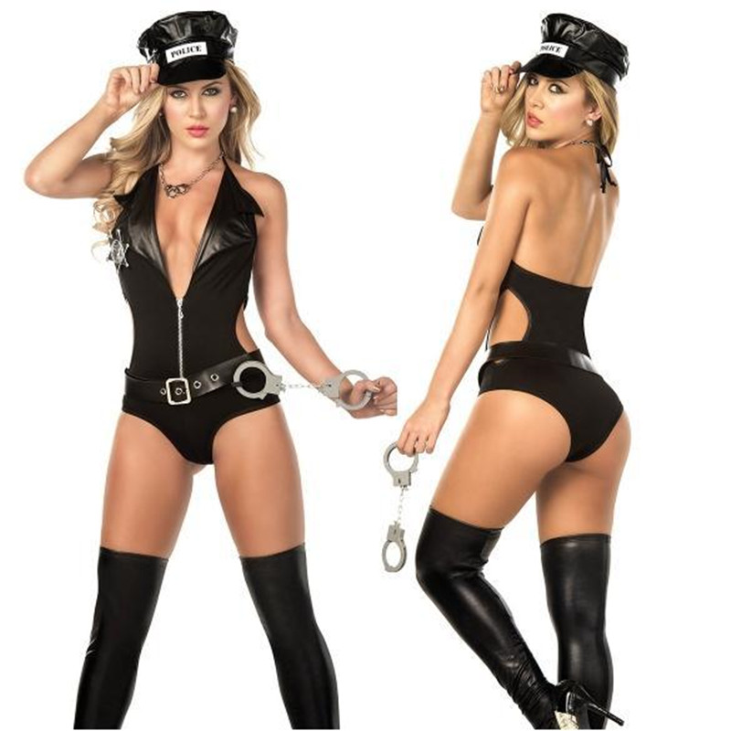 Hot Police Officer Costume Adult Sexy Dress Black Cop Erotic Jumpsuit Costumes Uniform Cosplay Policewomen Costume Disfraces image