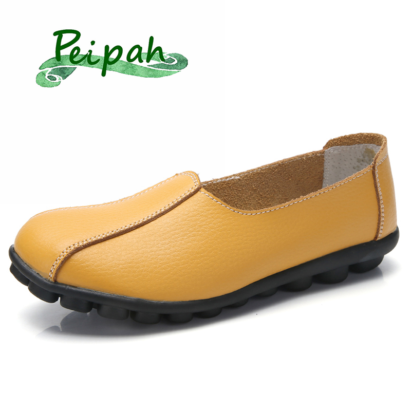 PEIPAH Women Genuine Leather Shoes Woman Moccasins Ladies Slip On Shoes Female Casual Flats Summer New Plus Size Shallow Loafers