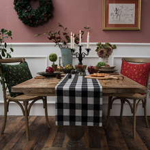 European Home Party Table Red Plaid Christmas Table Runner And Place Mat Napkins Textiles Decoration Accessories