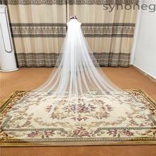 Imagem física 3 Elegante Do Casamento Véu Metros de Comprimento Macio 1 camadas Véus de Noiva Com Pente Branco Marfim Noiva Cor