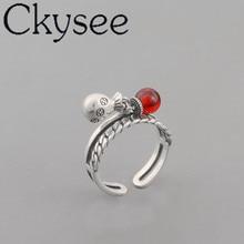 Ckysee 100% 925 стерлингового серебра Красный натуральный камень кошелек кольцо регулируемое отверстие диаметром 18мм ювелирных изделий