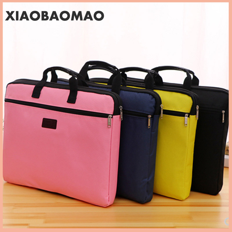 6 Colors A4 Document Bag Big Capacity Double Layers Book File Folder Holder With Handle Zipper Waterproof Canvas Handbag For Bus
