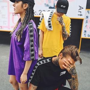 Image 5 - 2020 여름 힙합 T 셔츠 남성 하라주쿠 리본 T 셔츠 프린트 반소매 스트라이프 티셔츠 Streetwear New Casual Top Tees Cotton