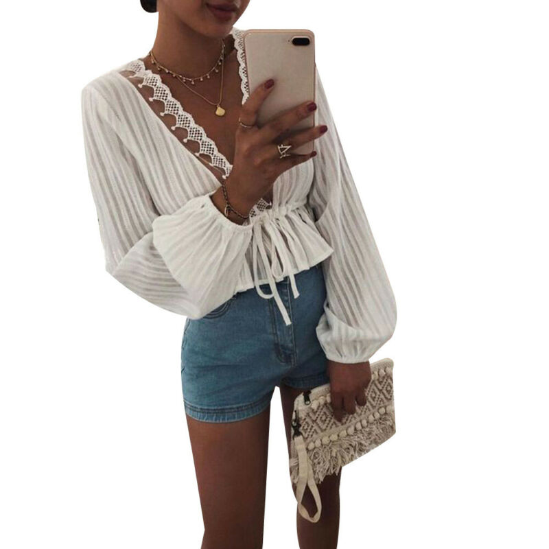 Fashion Women Ruffles Tie Office Formal Shirt Long Lantern Sleeve Blouse Ladies Casual Tops
