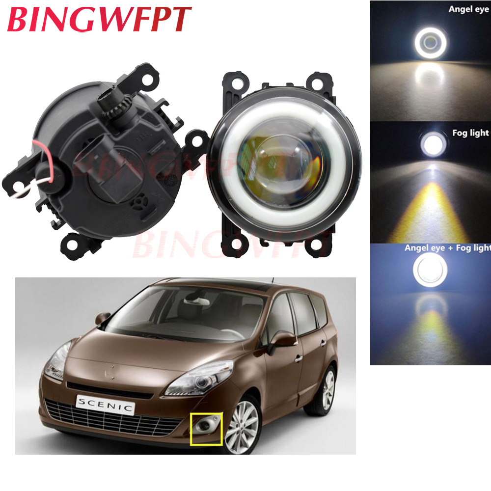 2x Car Accessories LED Fog Light Angel Eye with Glass len For Renault TWINGO GRAND SCENIC MASTER TRAFIC LOGAN Laguna DUSTER