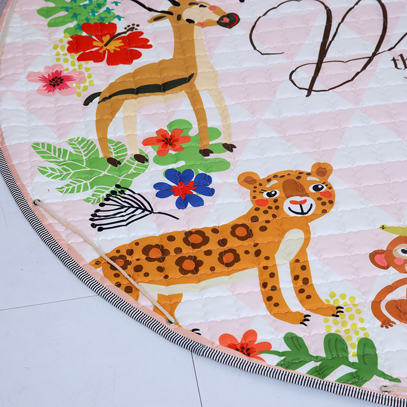 H282ee61b296b477e9f05f0e3258fc394O Kid Soft Carpet Rugs Cartoon Animals Fox Baby Play Mats Child Crawling Blanket Carpet Toys Storage Bag Kids Room Decoration