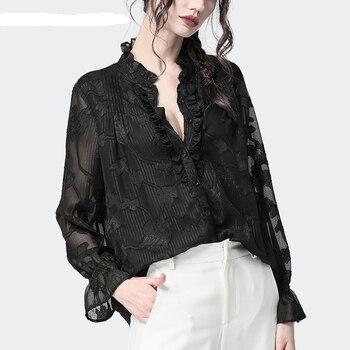 NEW Chiffon shirt tops women's autumn loose thin fashion long-sleeved shirt floral V-neck small shirt comfortable wild