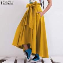 ZANZEA – jupe longue à nœud papillon pour femmes, tenue élégante de printemps, taille haute, couleur unie, 2021