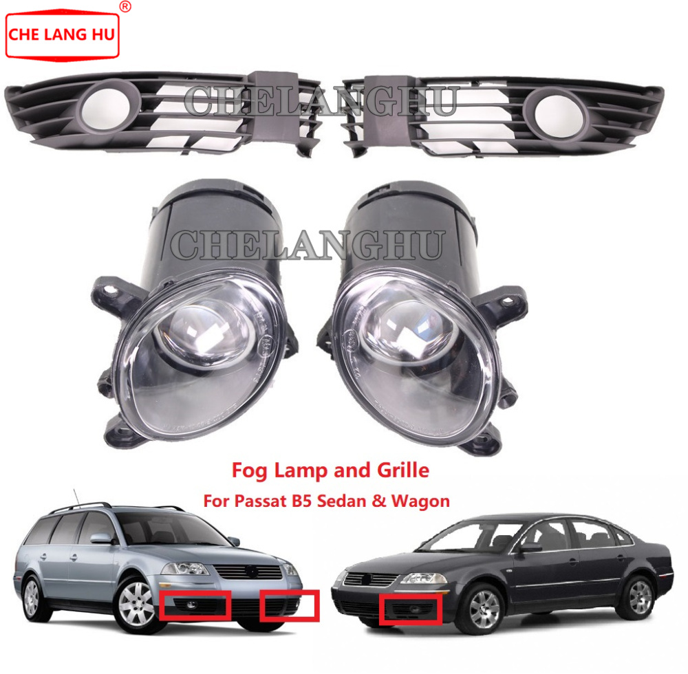 For VW Passat B5 W8 2001 2002 2003 2004 2005 Car-styling Front Fog Lights Fog Lamp Without Bulbs And Grille