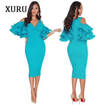 XURU White Black Pink Yellow Cold Shoulder Dress Cascading Ruffle Elegant Pencil Dresses Womens Party Casual 2020