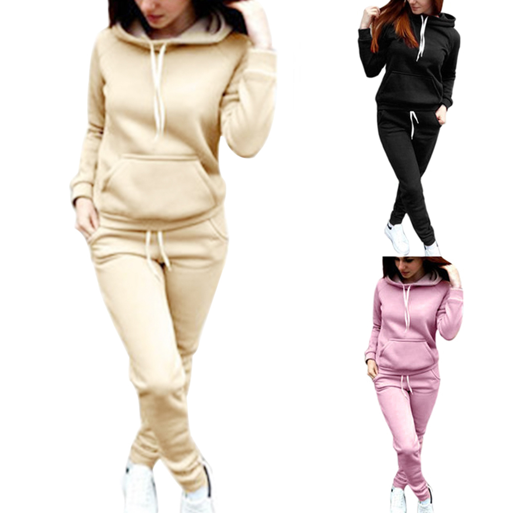Women Hooded Tracksuit 2PCS Casual Drawstring Pocket Pullover Hoodies Top+jogging Sweatpant Outfit 2020 Spring Fashion Suits 5XL