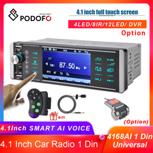 Podofo 1 Din Car Radio MP5 Player Touch Screen Bidirectional Interconnection RDS AM FM 4-USB 4 Inch Bluetooth Android Mirrorlink