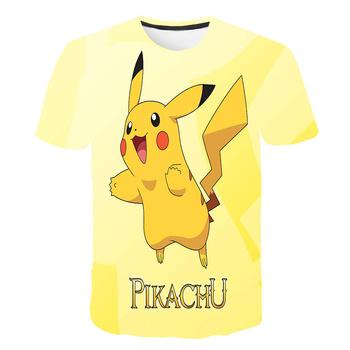 Pokemon 3D koszulka chłopiec dziewczyna kreskówka Pokemon koszulka chłopiec koszulka z motywem anime O-Neck ubrania letnie dziecko moda na co dzień z krótkim rękawem Top tanie i dobre opinie POLIESTER CN (pochodzenie) CZTERY PORY ROKU 4-6y 7-12y 12 + y Chłopcy W stylu rysunkowym REGULAR Dzieci Z okrągłym kołnierzykiem