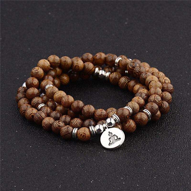 Charms Women Men 108 Beads Bracelet Yoga Sandalwood Wood Prayer Beaded Buddhist Buddha Rosary Bracelets Necklaces Unisex Jewelry