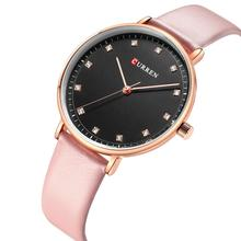 CURREN Women Watch Stylish 2019 Quartz Wristwatch Pink Leather Strap Classic Luxury Rhinestone Ladies Watches Relojes Para Mujer