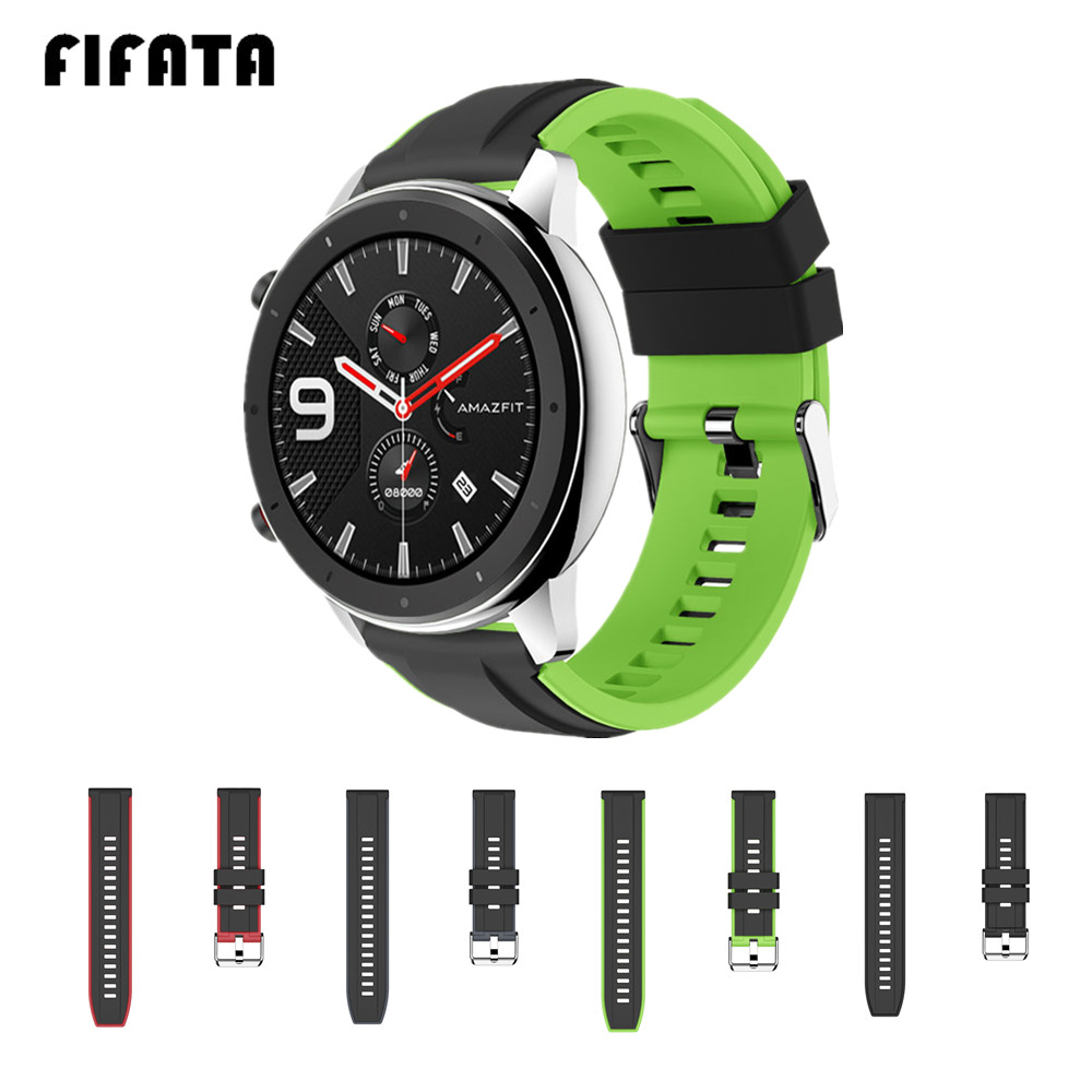 FIFATA Sport Silicone Smart Watch Band For Huami Amazfit GTR 47mm For Xiaomi Amazfit GTR Smart Band Accessories 22mm Watch Strap