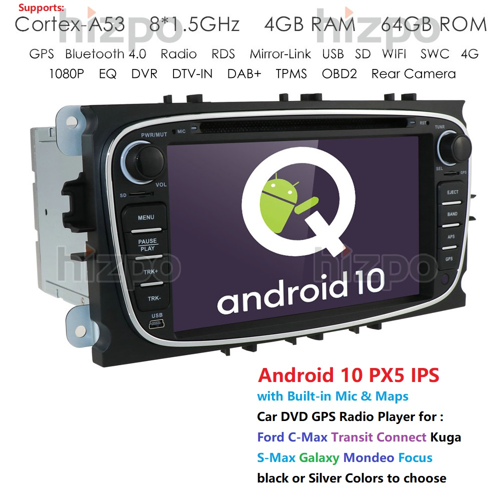 2 din Android 10 Car DVD Multimedia Player <font><b>GPS</b></font> for <font><b>FORD</b></font> Focus 2 <font><b>Mondeo</b></font> S-MAX C-MAX Galaxy 4G 64G TDA7851 IPS auto radio fmam rds image