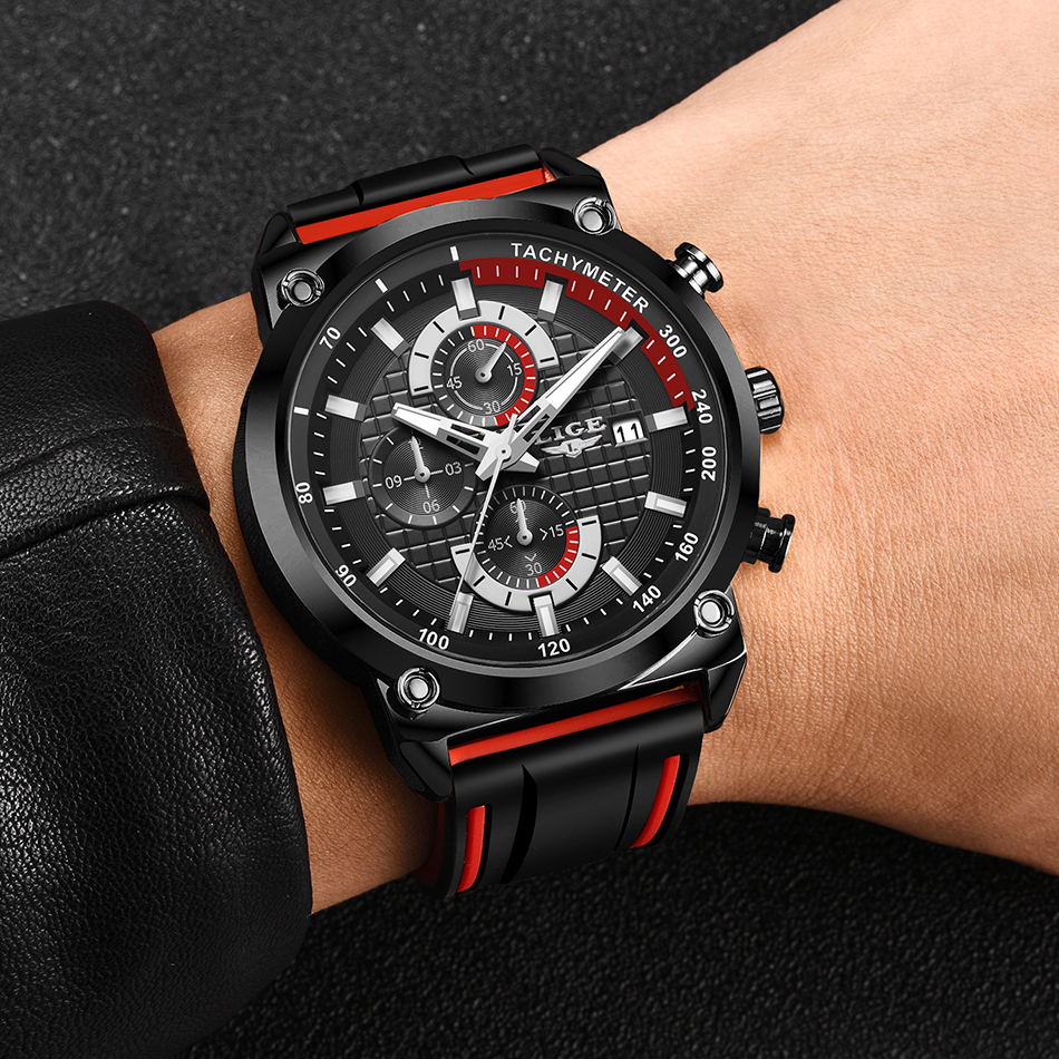 H282f6b1657224b03be8759bae2e830eb8 New Top Fashion Chronograph Quartz Men Watches LIGE Silicone Strap Date Wristwatch Clock Male Luminous Watch Relogio Masculino