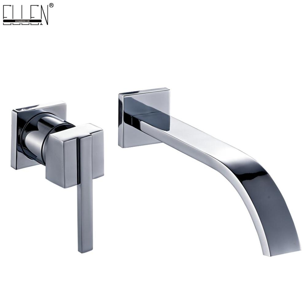 Bathtub Brass Wall Mount Faucet Mixer Crane Hot and Cold Water Waterfall Bathroom Sink Faucets Chrome Finished Mixer Taps EL10