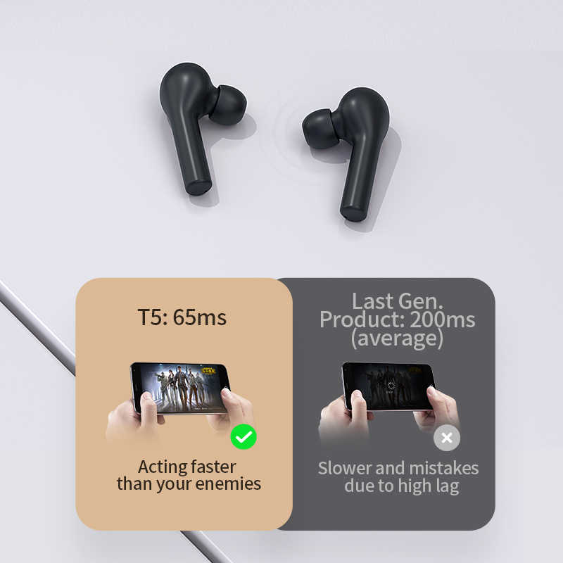 QCY T5 bezprzewodowe słuchawki Bluetooth V5.0 sterowanie dotykowe słuchawki Stereo HD rozmowa z baterią 380mAh