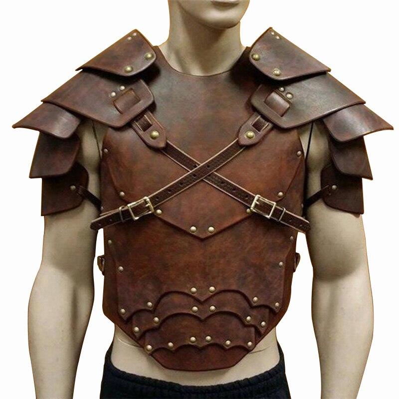 Medieval Steampunk Breastplate Pauldrons Vintage Shoulder Armour Men Larp Battle Viking Samurai Warrior Knight Harness Leather(China)