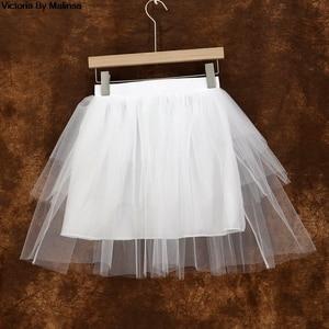 Image 4 - Fashion Womens White Mini Tulle Skirt Fairy Black Secret saia Voile Bouffant Puffy Skirt Short Tutu Skirts Custom Made