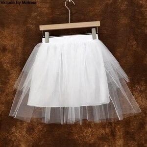 Image 4 - Mode femmes blanc Mini Tulle jupe fée noir Secret saia Voile Bouffant jupe bouffante courte Tutu jupes sur mesure